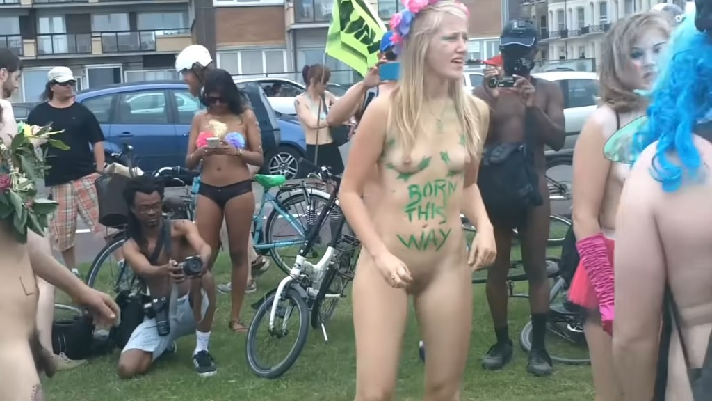 The Brighton 2015 Naked Bike Ride Part1 [Warning Contains Full Frontal  Nudity]