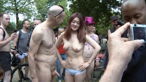 World Naked Bike Ride, London 2018. Ending at Wellington Arch.