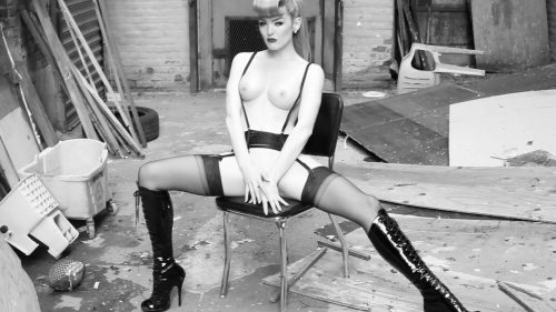 Miss Miranda steamy alley way photo shoot with Steve Prue in Brooklyn, NY – BLACK AND WHITE