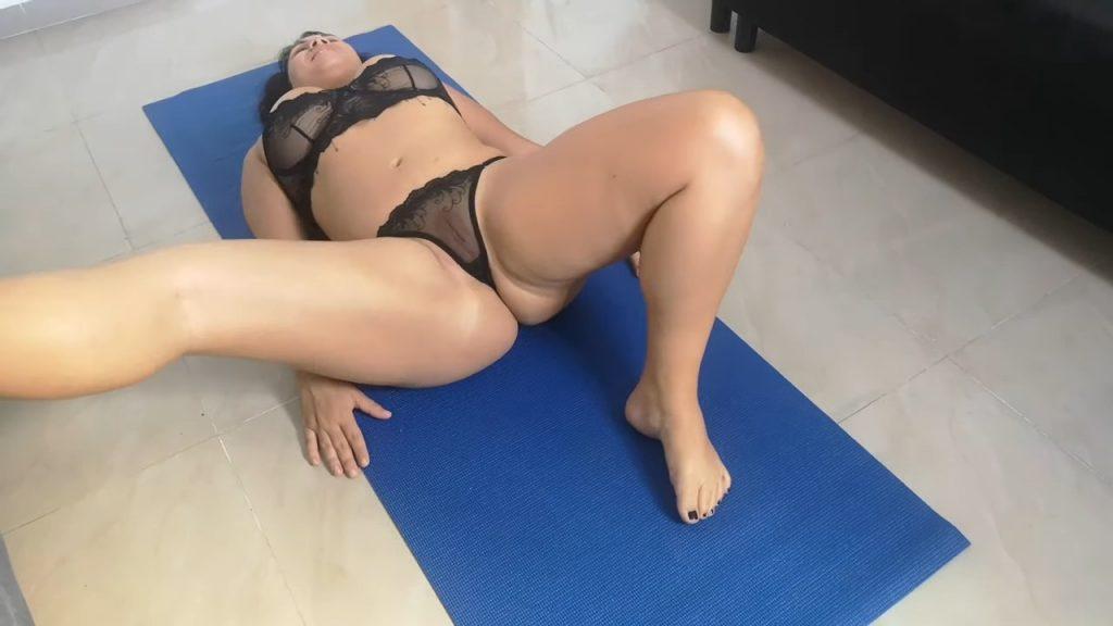 Yoga half naked on transparent lingerie by Maryancc